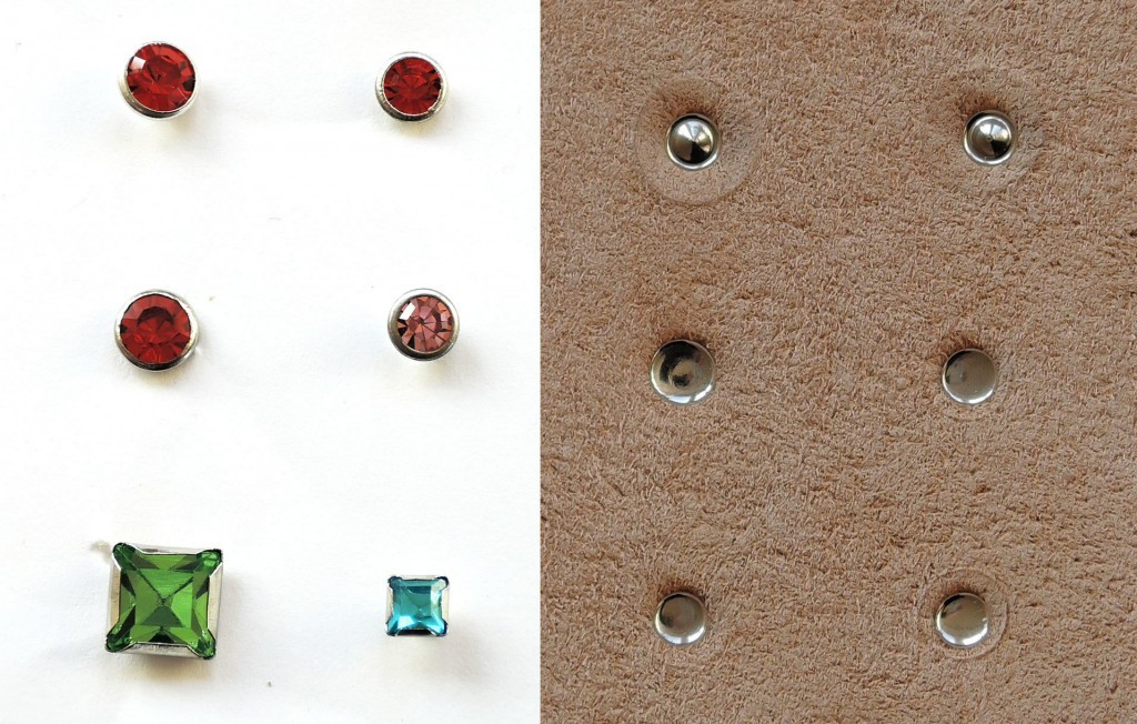 The reverse and obverse side of the chaton rivets